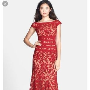 Tadashi Shoji red textured lace mermaid gown